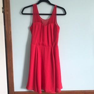 Red dress with sweetheart and sheer neckline